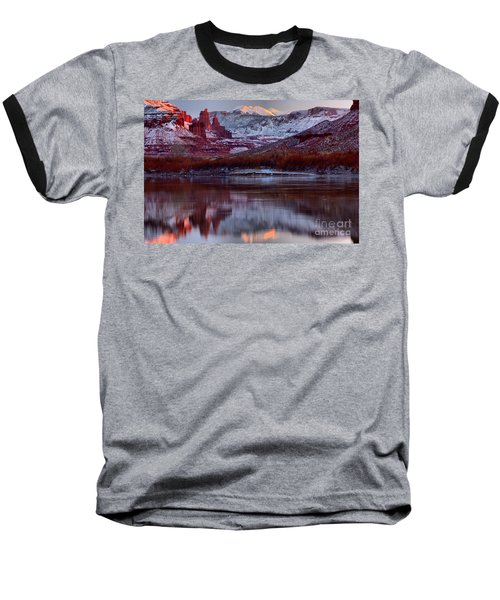Baseball T-Shirt featuring the photograph Maroon Fisher Towers by Adam Jewell