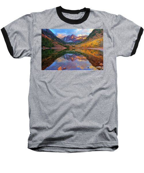 Maroon Lake Dawn Baseball T-Shirt by Greg Norrell