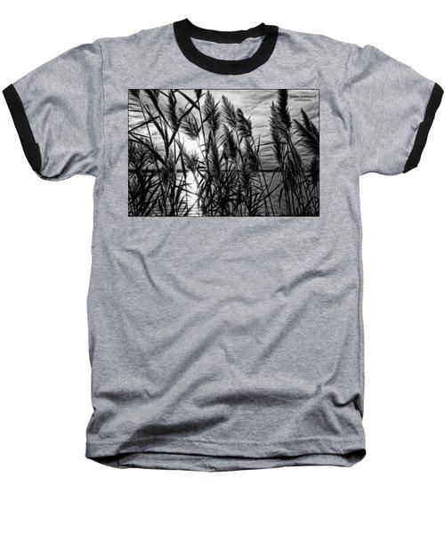 Marsh Grass Bw Baseball T-Shirt by John Loreaux