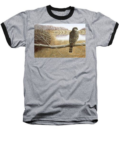Baseball T-Shirt featuring the painting Marsh Hawk by Laurie Stewart