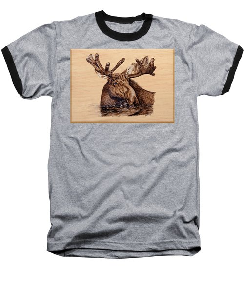 Baseball T-Shirt featuring the pyrography Marsh Moose by Ron Haist