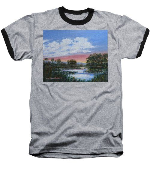 Baseball T-Shirt featuring the painting Marsh Reflections by Kathleen McDermott