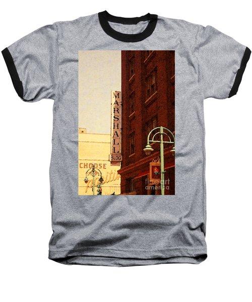 Marshall Bldg Baseball T-Shirt by David Blank