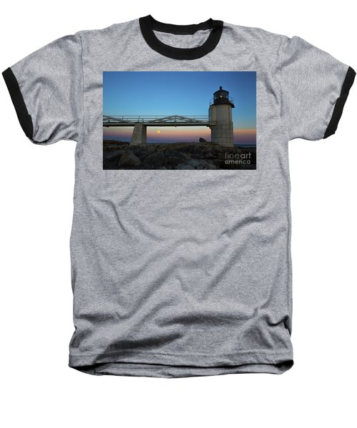 Marshall Point Lighthouse With Full Moon Baseball T-Shirt by Diane Diederich