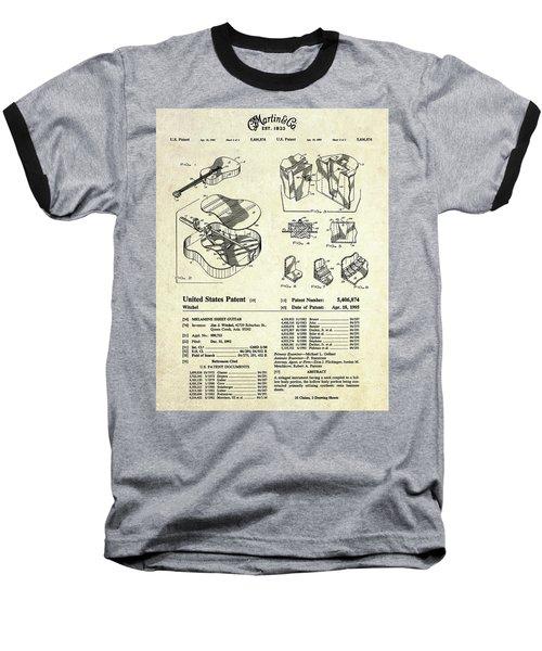 Martin Guitar Patent Art Baseball T-Shirt by Gary Bodnar