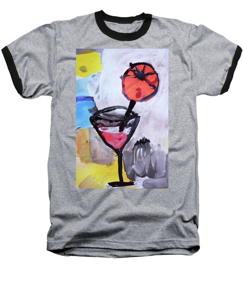 Martini And Orange Baseball T-Shirt by Amara Dacer