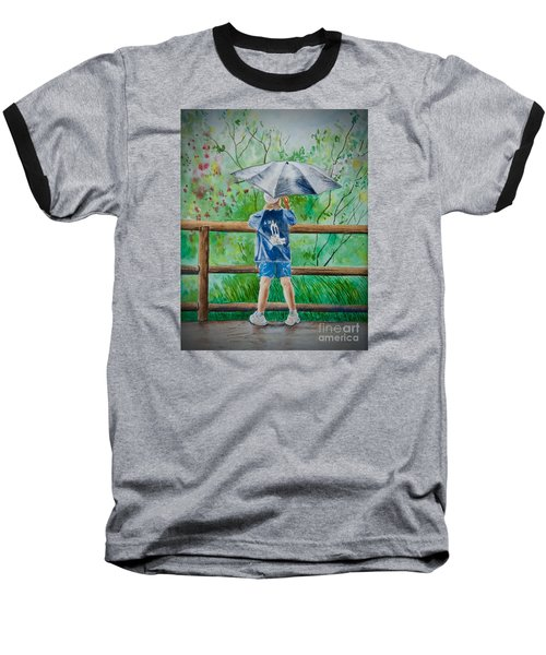 Baseball T-Shirt featuring the painting Marcus' Umbrella by AnnaJo Vahle