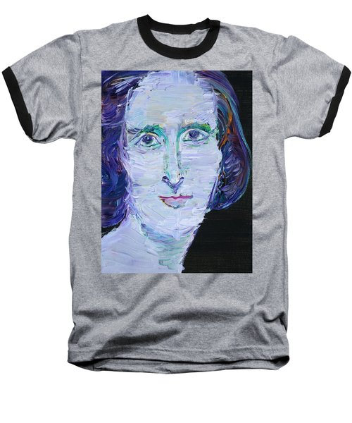 Baseball T-Shirt featuring the painting Mary Shelley - Oil Portrait by Fabrizio Cassetta
