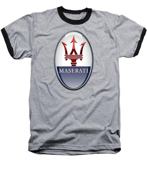 Maserati - 3d Badge On Black Baseball T-Shirt by Serge Averbukh