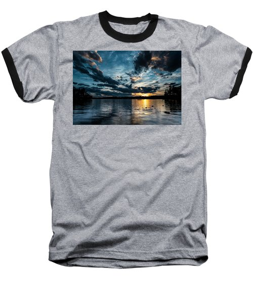 Masscupic Lake Sunset Baseball T-Shirt