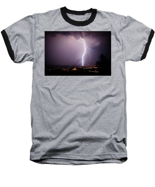 Massive Lightning Storm Baseball T-Shirt by Ron Chilston