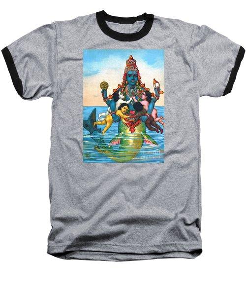 Baseball T-Shirt featuring the painting Matsya - Avatar Of Vishnu by Pg Reproductions
