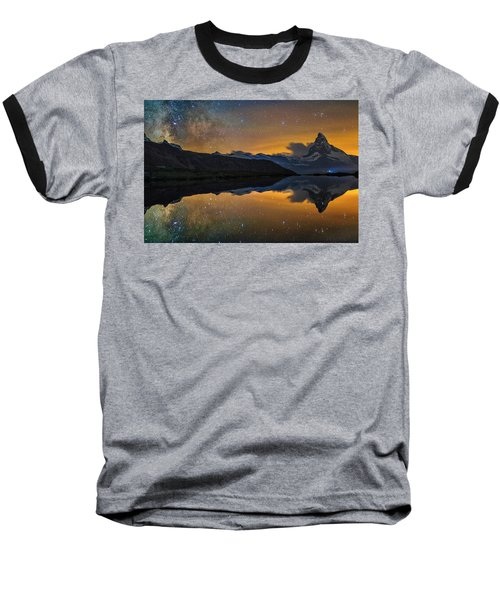 Matterhorn Milky Way Reflection Baseball T-Shirt
