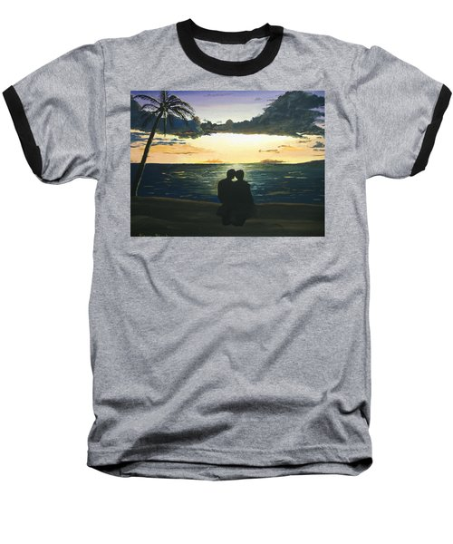 Baseball T-Shirt featuring the painting Maui Beach Sunset by Norm Starks