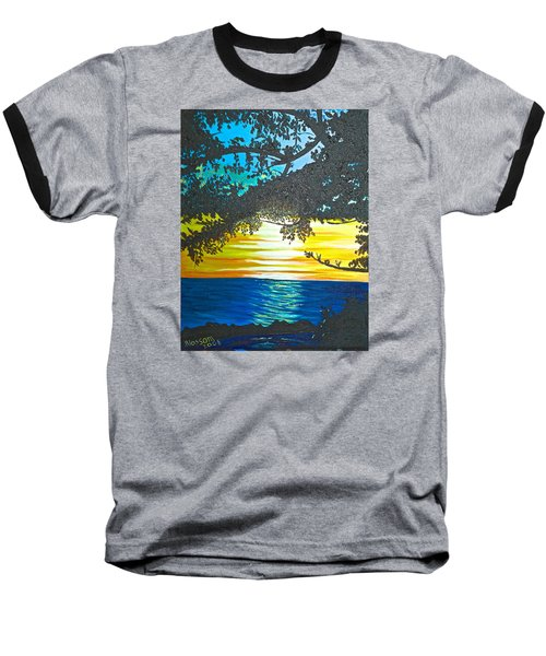 Baseball T-Shirt featuring the painting Maui Sunset by Donna Blossom