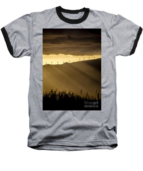 Maui Wind Farm Sunset Baseball T-Shirt