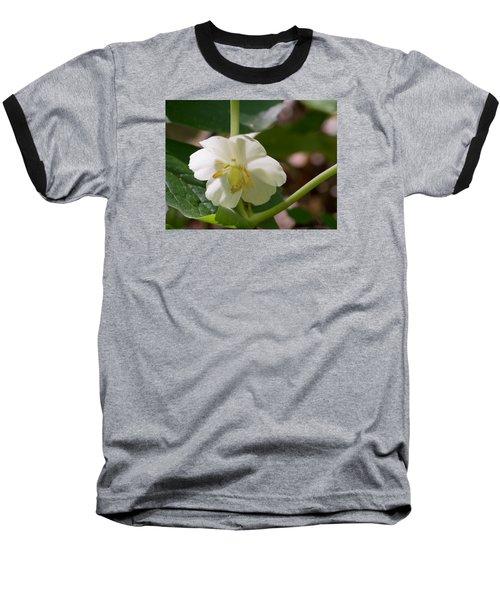 May-apple Blossom Baseball T-Shirt by Linda Geiger