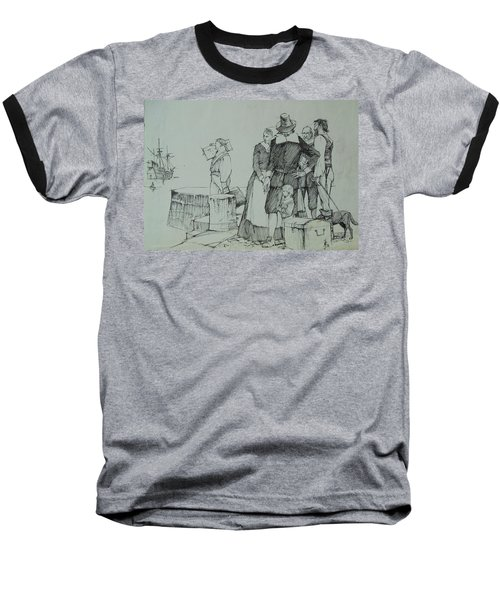 Baseball T-Shirt featuring the drawing Mayflower Departure. by Mike Jeffries