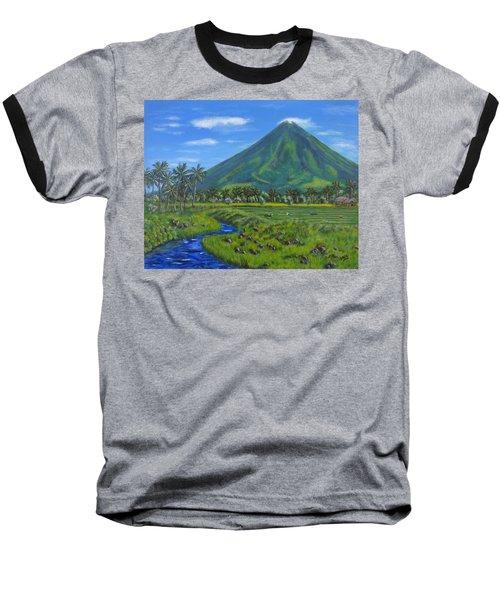 Mayon Volcano Baseball T-Shirt