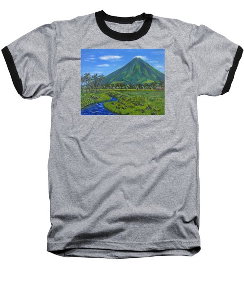 Mayon Volcano Baseball T-Shirt