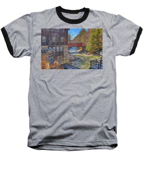 Mcconnells Mill Winter  Baseball T-Shirt by Randy Steele