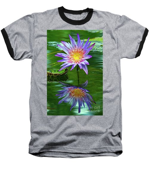 Mckee Water Lily Baseball T-Shirt by Larry Nieland