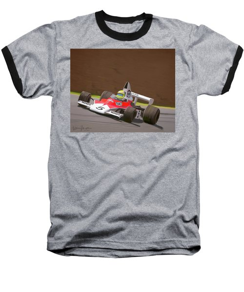 Mclaren M23 Baseball T-Shirt by Wally Hampton