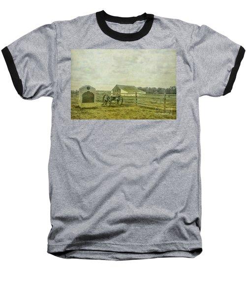 Mcpherson Barn And Cannon Gettysburg  Baseball T-Shirt by Randy Steele