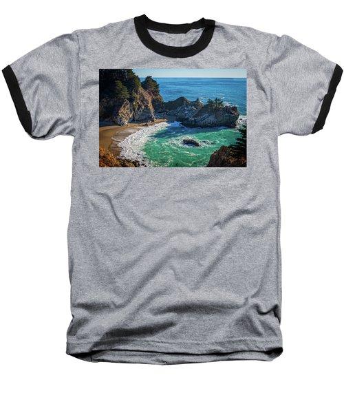 Mcway Falls Julia Pfieffer State Park Baseball T-Shirt by James Hammond