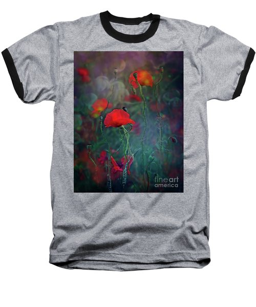 Meadow In Another Dimension Baseball T-Shirt by Agnieszka Mlicka