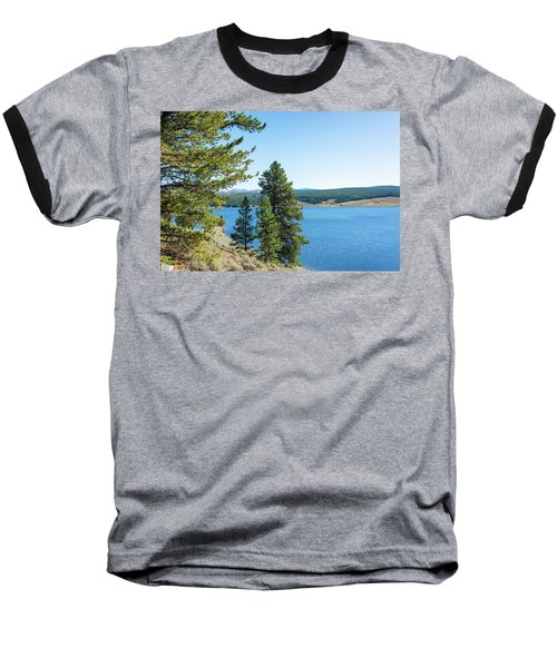Meadowlark Lake And Trees Baseball T-Shirt by Jess Kraft