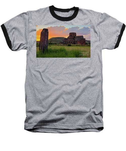 Mediaval Talin's Cathedral At Sunset With Cross Stone In Front, Armenia Baseball T-Shirt by Gurgen Bakhshetsyan