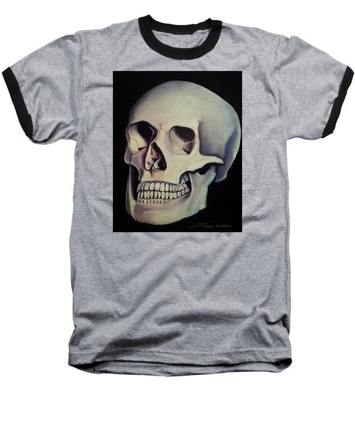 Baseball T-Shirt featuring the painting Medical Skull  by James Christopher Hill