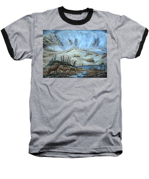 Baseball T-Shirt featuring the painting Medicine Bow Peak In Clouds With Elk by Dawn Senior-Trask