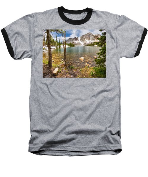 Medicine Bow Snowy Mountain Range Lake View Baseball T-Shirt