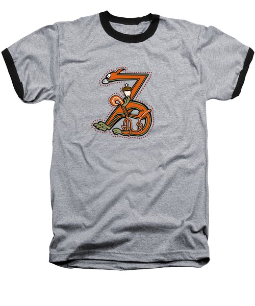 Medieal Squirrel Letter Z Baseball T-Shirt by Donna Huntriss