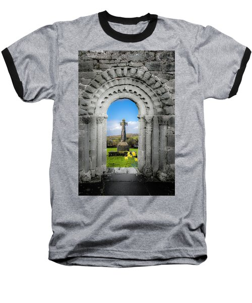 Medieval Arch And High Cross, County Clare, Ireland Baseball T-Shirt