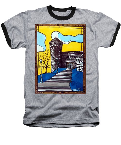 Baseball T-Shirt featuring the painting Medieval Bastion -  Mace Tower Of Buda Castle Hungary By Dora Hathazi Mendes by Dora Hathazi Mendes