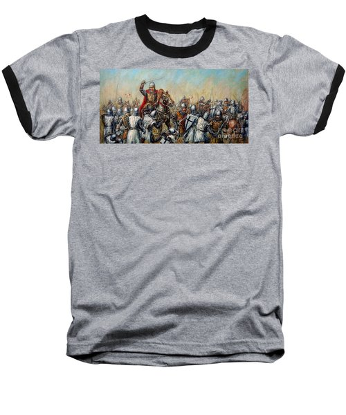 Medieval Battle Baseball T-Shirt by Arturas Slapsys
