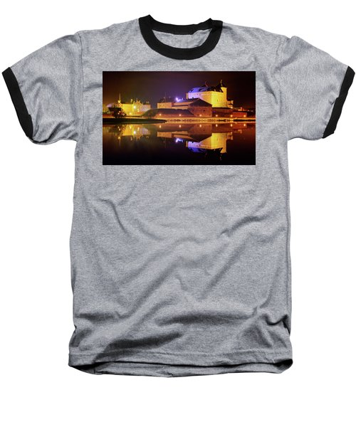 Medieval Castle By The Lake At Night Baseball T-Shirt
