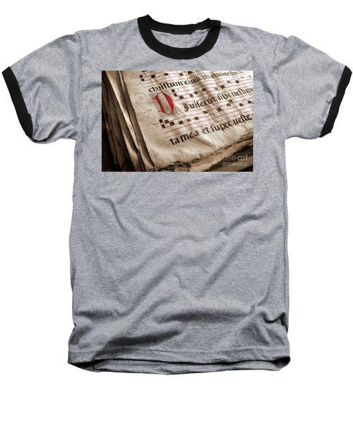 Medieval Choir Book Baseball T-Shirt by Carlos Caetano