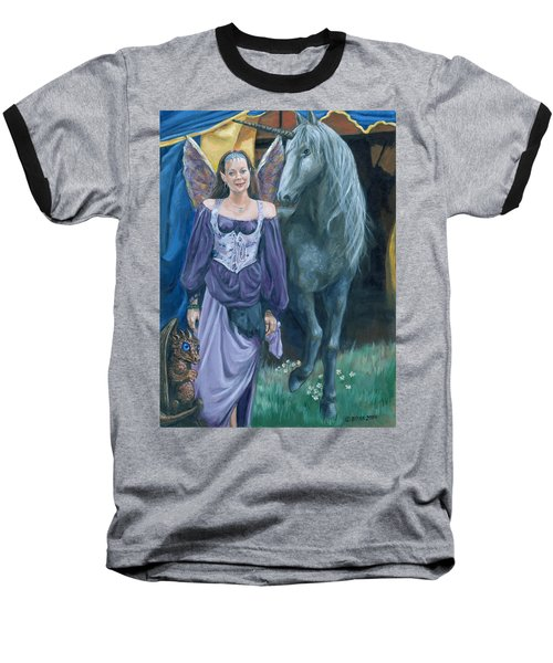 Baseball T-Shirt featuring the painting Medieval Fantasy by Bryan Bustard