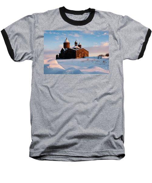 Medieval Saghmosavank Monastery Covered By Snow At Sunset, Armenia Baseball T-Shirt