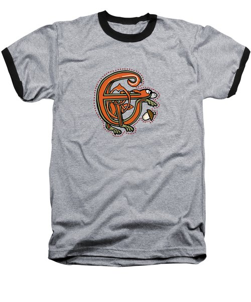 Medieval Squirrel Letter E Baseball T-Shirt