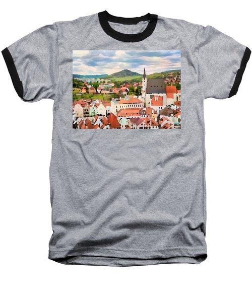 Baseball T-Shirt featuring the digital art Medieval Village  by Shelli Fitzpatrick