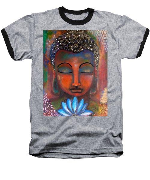 Meditating Buddha With A Blue Lotus Baseball T-Shirt by Prerna Poojara