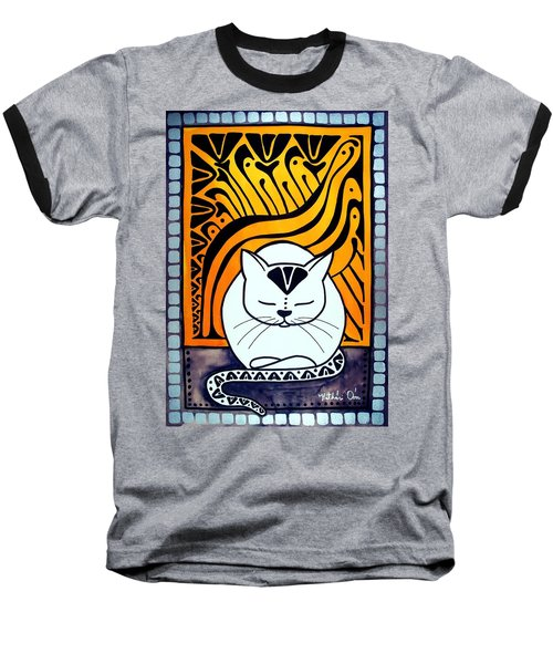 Meditation - Cat Art By Dora Hathazi Mendes Baseball T-Shirt by Dora Hathazi Mendes