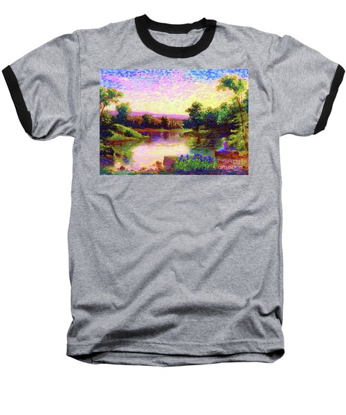 Baseball T-Shirt featuring the painting  Meditation, Just Be by Jane Small