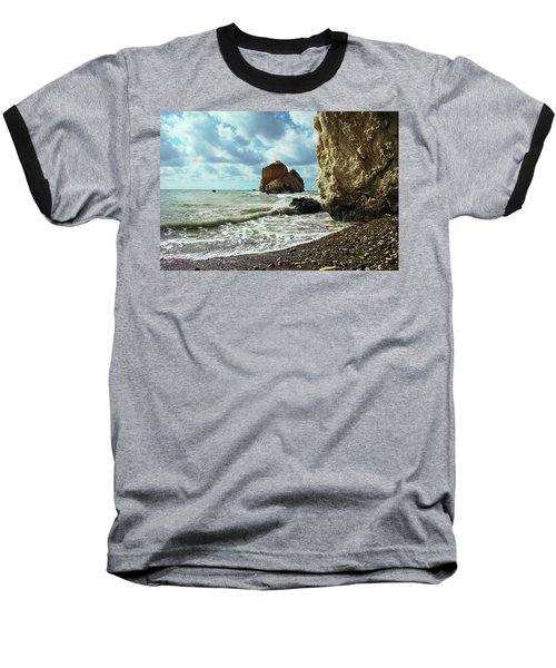 Mediterranean Sea, Pebbles, Large Stones, Sea Foam - The Legendary Birthplace Of Aphrodite Baseball T-Shirt