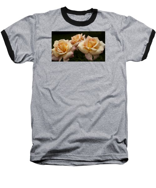 Baseball T-Shirt featuring the photograph Medley Of Three Yellow Roses by Barbara Middleton